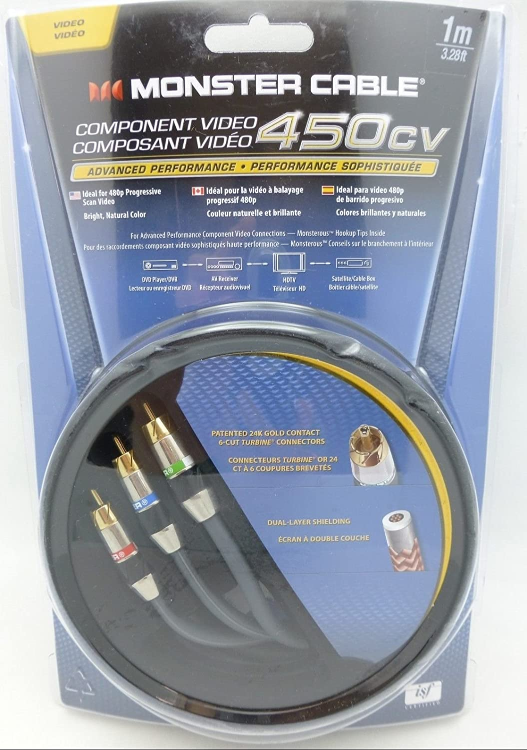 Amazon.com: Monster Cable 450CV 1 meter Component Video Cable Model ...