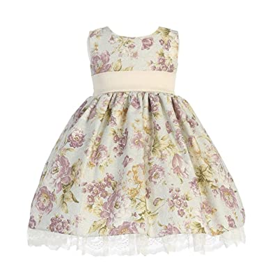 a553a71bb Amazon.com: Lito Ivory Plum Floral Sleeveless Easter Flower Girl ...