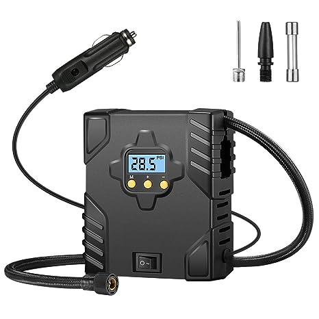 OMORC Mini Compresor de Aire portátil, Automático Bomba Inflador Digital con LED para Noche Compatibilidad