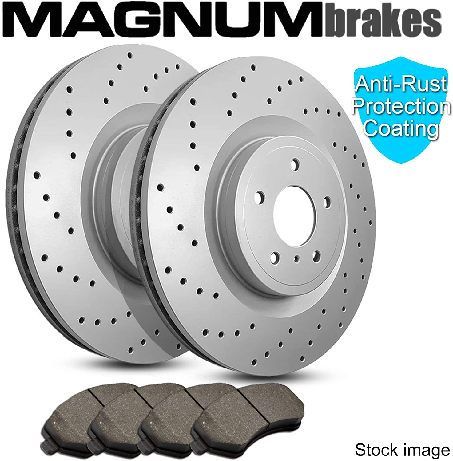 Front MagnumBrakes Cross Drilled Brake Rotors /& Ceramic Brake Pads for 1997-2000 BMW 528i E39