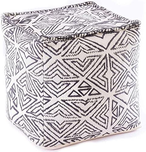 Mandala Life ART Bohemian Pouf Cube Cover- 20 inches Luxury, Artisan Room Decor Pouffe – Boho Chic Seating Area Ottoman