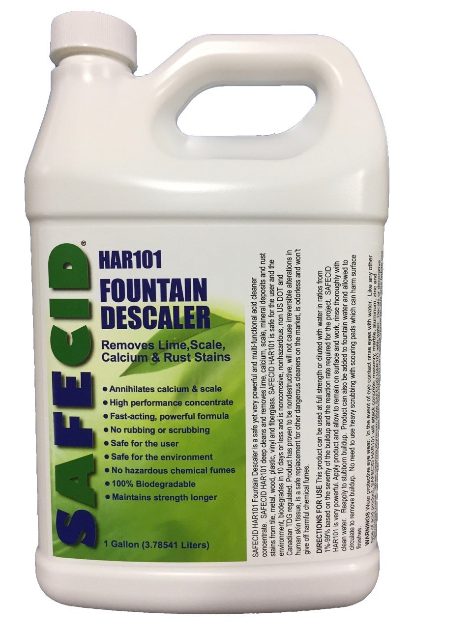 Safe Fountain Calcium Scale Remover & Cleaner F-HAR101 Descaler removes Lime, Calcium, Scale, Mineral deposits, Rust Stains from Fountains (Gallon) by SAFECID