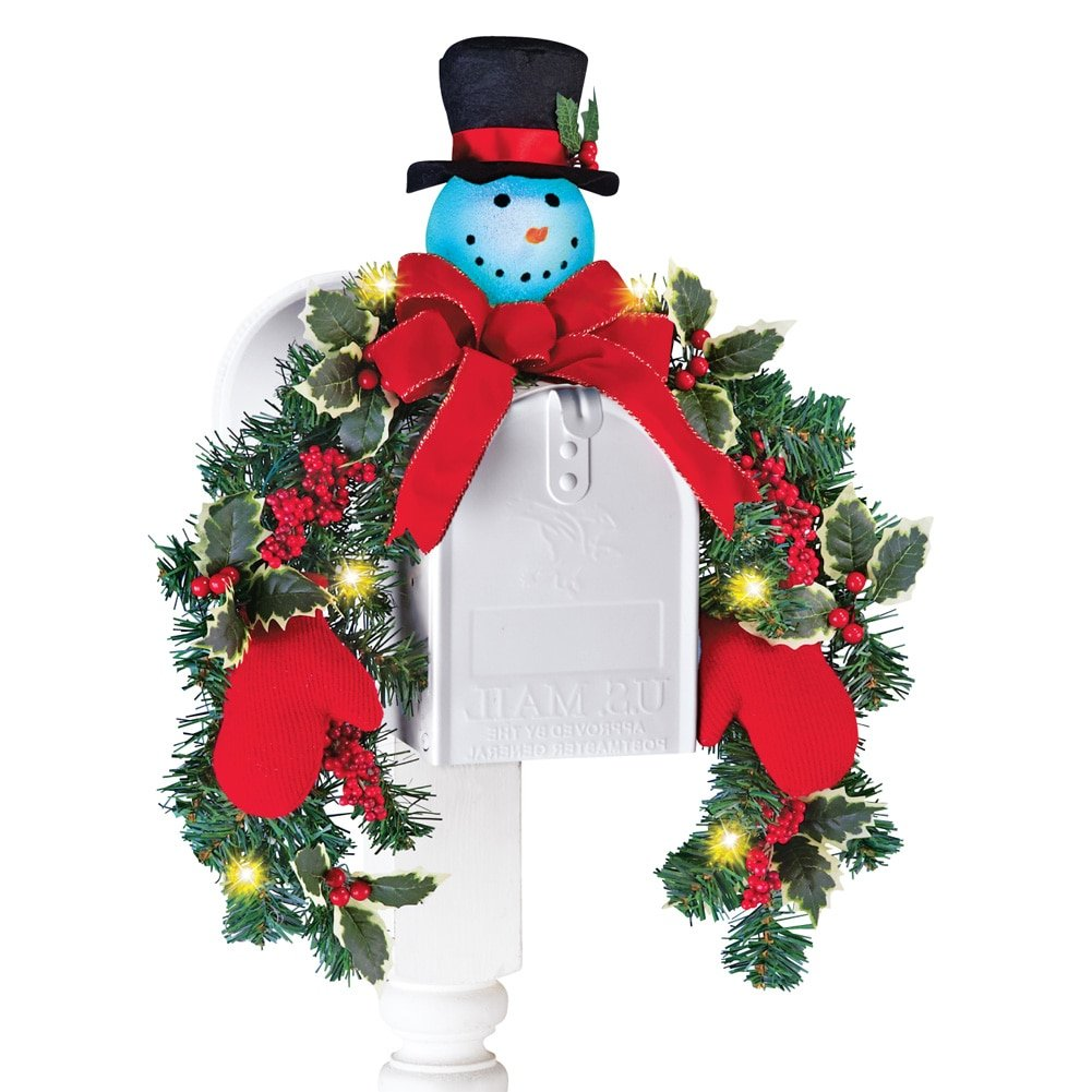 Collections Etc Lighted Snowman Mailbox Evergreen Swag