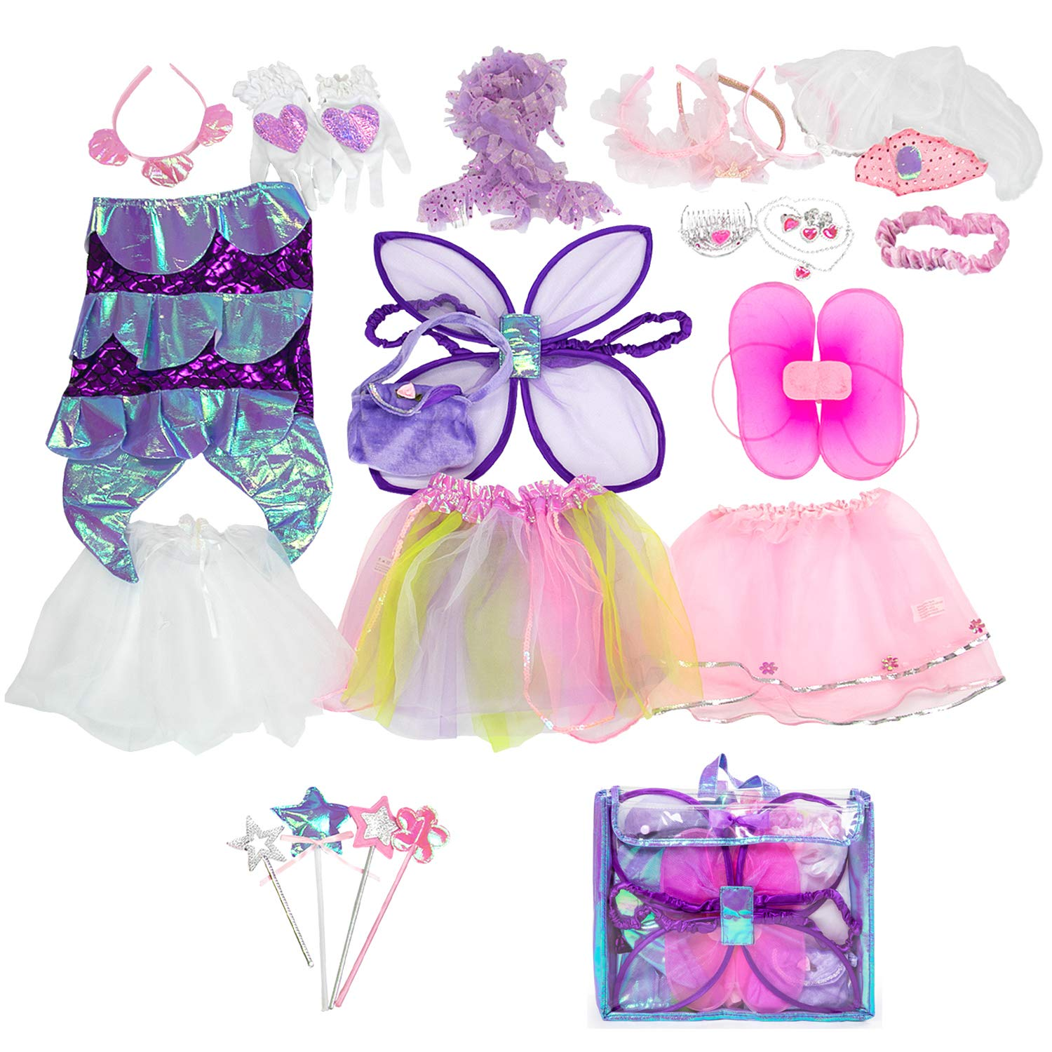Sinuo Girl Dress Up Set Princess, Fairy and Mermaid Role Play Costumes Christmas Party Dress-up Trunk with Accessories 25pcs Girls Pretend Costume for Kids Age from 2-5