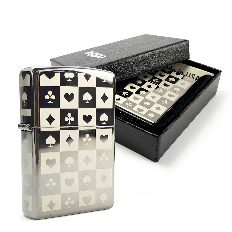 Zippo Feuerzeug Gebürstetem Chrom mit 'schwarz Ice' Logo