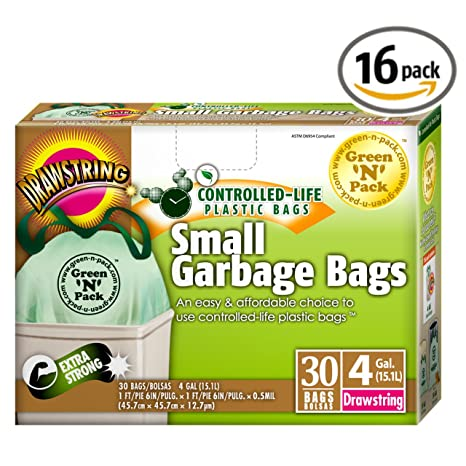 GreenNPack DSO4-120 Small Garbage Bags, Drawstring, 4 Gallon,