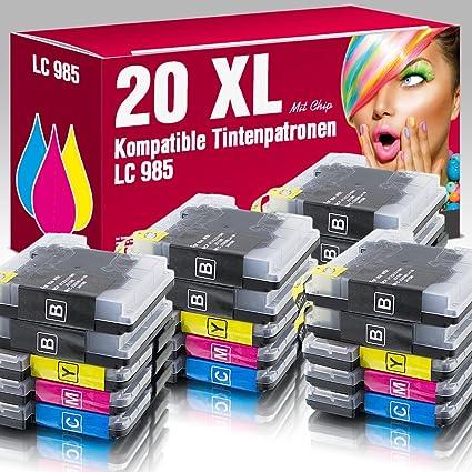MS de Point® 20 x Cartuchos de impresora (Cartuchos) XL compatible con Brother LC985