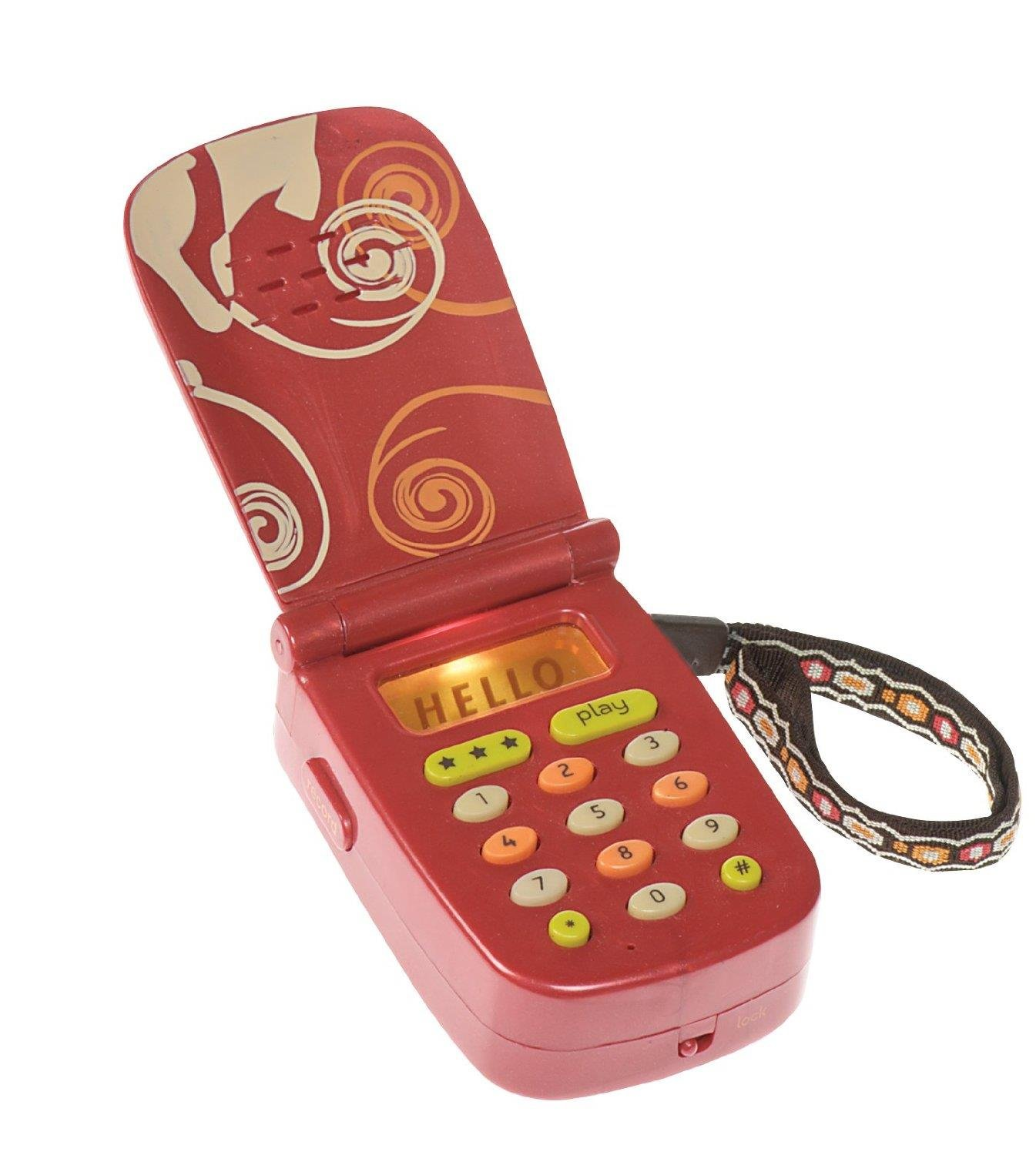 B. toys - Hellophone Toy Cell Phone - Kids Play Phone with Light Sounds and Songs - Toddler Toy Phone with Message Recorder - 100% Non-Toxic and BPA-Free by Bristle Blocks by Battat