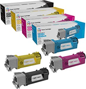 LD Compatible Toner Cartridge Replacement for Dell Color Laser 1320c High Yield (Black, Cyan, Magenta, Yellow, 4-Pack)