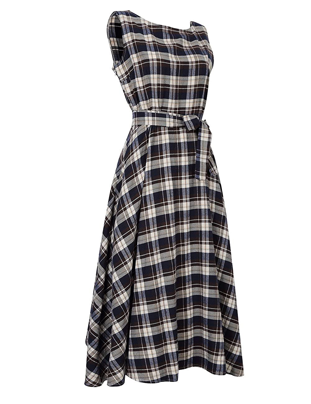 YesFashion Women/'s Vintage Plaid Rural Sleeveless Party Swing Skirt Dress