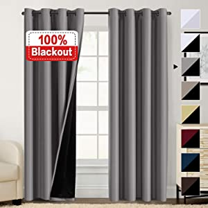 100% Blackout Curtains for Living Room Double Layer Faux Silk Curtains Room Darkening Thermal Insulated Energy Saving Grommet Window Treatment Panels (Grey, 52 by 84-inch)