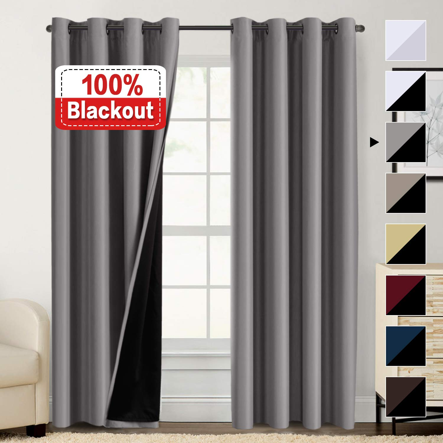 100% Blackout Curtains for Living Room Double Layer Faux Silk Curtains Room Darkening Thermal Insulated Energy Saving Grommet Window Treatment Panels (Grey, 52 by 84-inch) by Flamingo P