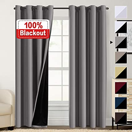Amazoncom 100 Blackout Curtains For Bedroom Energy Saving Pair