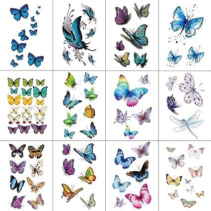 WYUEN - Tatuajes Adhesivos de Mariposas para Adultos, Lote de 12 ...