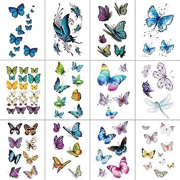 32ac83f8a Amazon.com : WYUEN 12 PCS/lot Butterfly Temporary Tattoo Sticker for Women  Men Body Art Adults Waterproof Hand Fake Tatoo 9.8X6cm W12-03 : Beauty