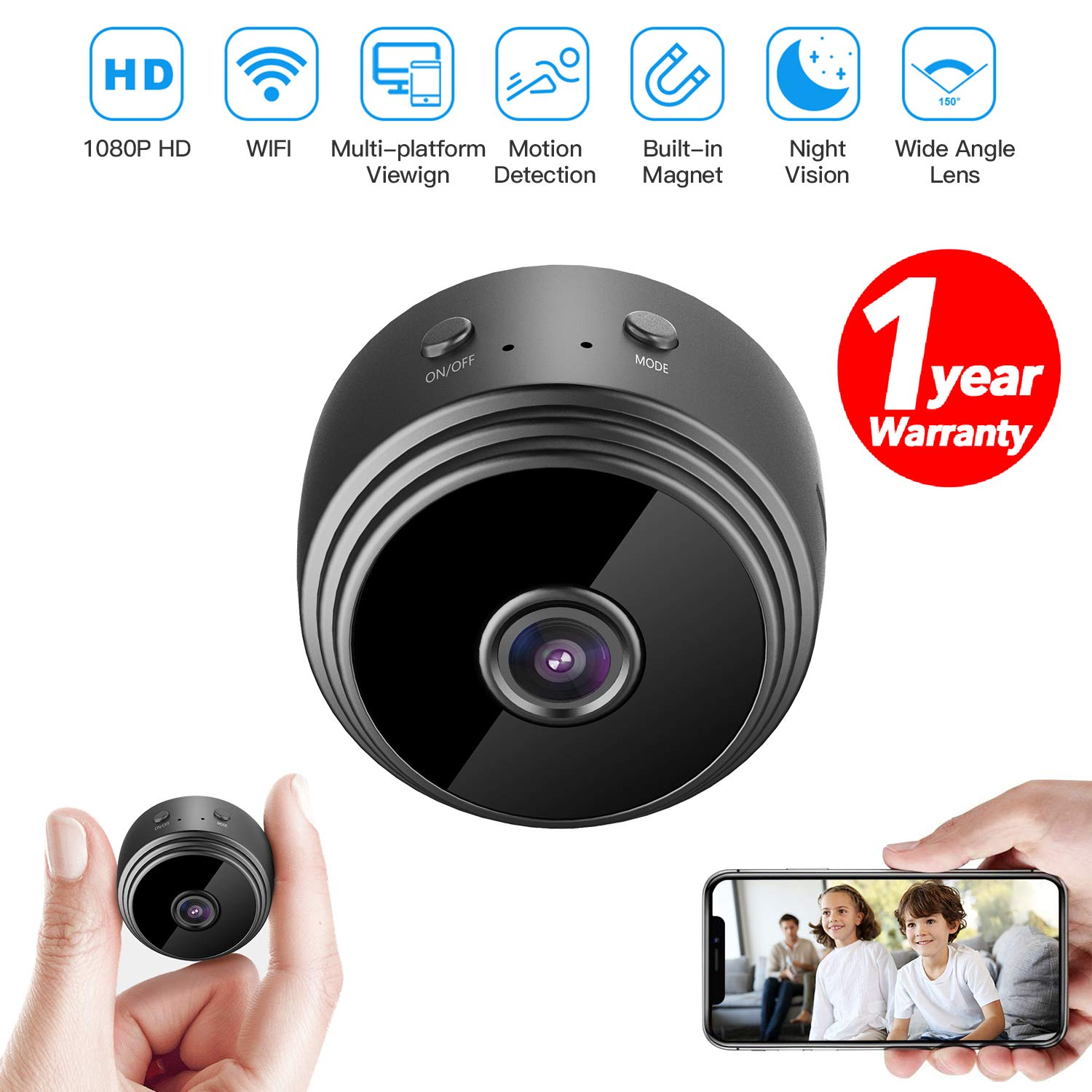 32GB Mini HD 1080P Wireless Hidden Camera,Home WiFi Remote Security Cameras,Smart Motion Detection,Instant Push Notifications, Remote Playback,Magnetic Feature,Night Vision Spy Camera,by HZTCAM by HZTCAM