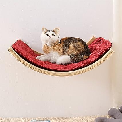 L&XY Gato Hamaca Gato Casa Mascota Gatito Relajarse Sueño Sólido Estante De Madera Verde Muebles para