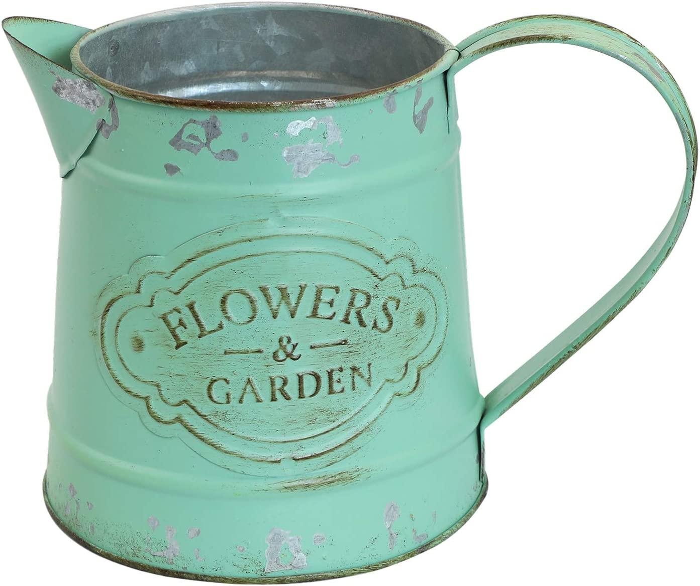 SHINGONE Vintage French Rustic Style Primitive Metal Vase Shabby Chic Pitcher Jug Flower Vase for Home & Garden Decoration