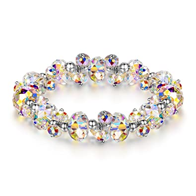 LADY COLOUR Strech Bracelet for Women Colorful Adjustable Bangle with  Swarovski Aurore Boreale Crystals Fashion Costume 37ff9ddba9