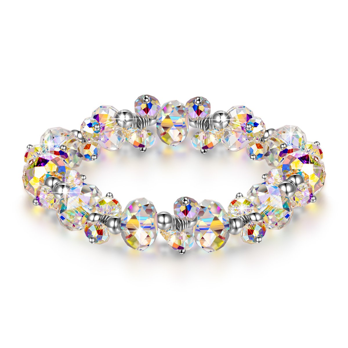 LADY COLOUR Mothers Day Bracelet Gifts Strech Bracelet for Women Colorful Adjustable Bangle with Swarovski Aurore Boreale Crystals Fashion Costume Jewelry Brithday Wife Her Girls Girlfriend Mom Mother
