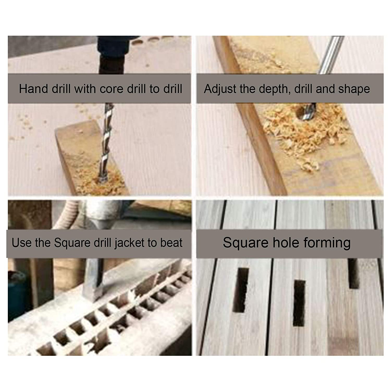 Bearing Steel 14‑19mm Woodworking Square Hole Drill Bits for Density Board MDF for Square Hole Drills