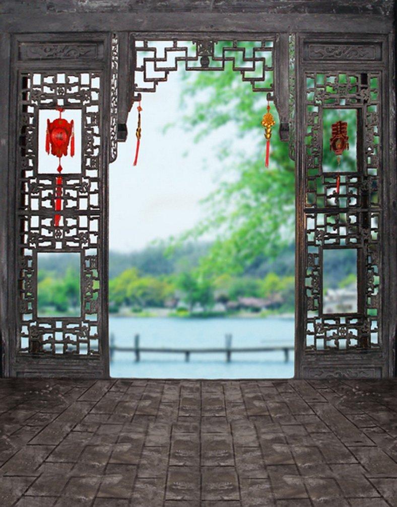 レンガ床Chinese Traditionalドア写真背景幕写真小道具Studio背景5 x 7ft   B01H3VYW8O