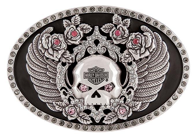 Amazon.com  Harley-Davidson Women s Rhinestone Rockin  Roses Skull ... 991fb47949c7