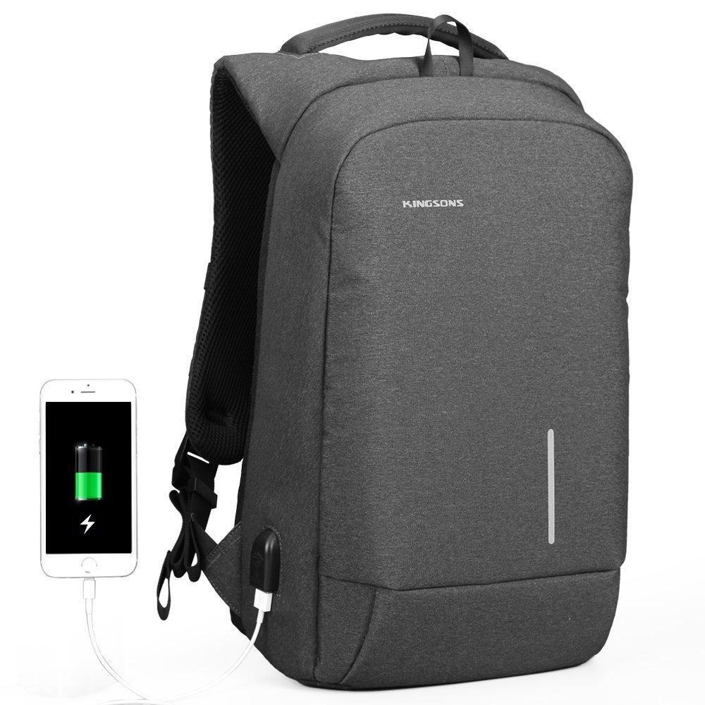 Geld sicher am Körper tragen mit Fresion Anti-diebstahl Laptop Rucksack in der Frontansicht