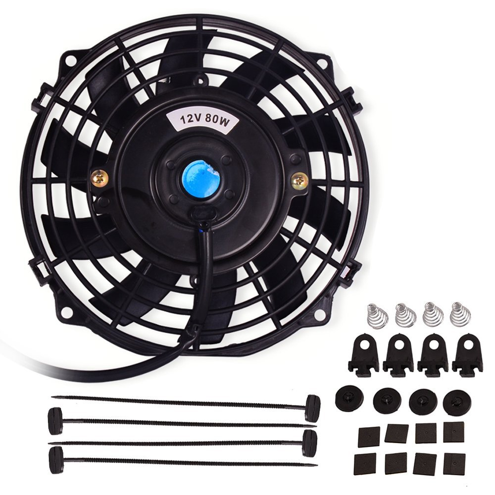 7 Electric Radiator Cooling Fan Assembly Kit 1730cfm Relay Wiring Together With Universal Slim Engine Mounting Reversible 12v 80w Automotive