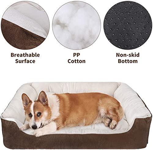 SlowTon Warming Dog Bed, 31.5 Inch Machine Washable Dryer Pet Sleeper Couch Sofa Ultra-Soft Breathable Cotton Cozy Calming Cushion with Non-Slip Bottom for Medium Small Dog