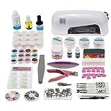 Anself Nail Art Manicure Kit decorazione di lampada UV 9W gel strumento Pennello di rimozione del chiodo capovolge la colla acrilica corredi DIY Set