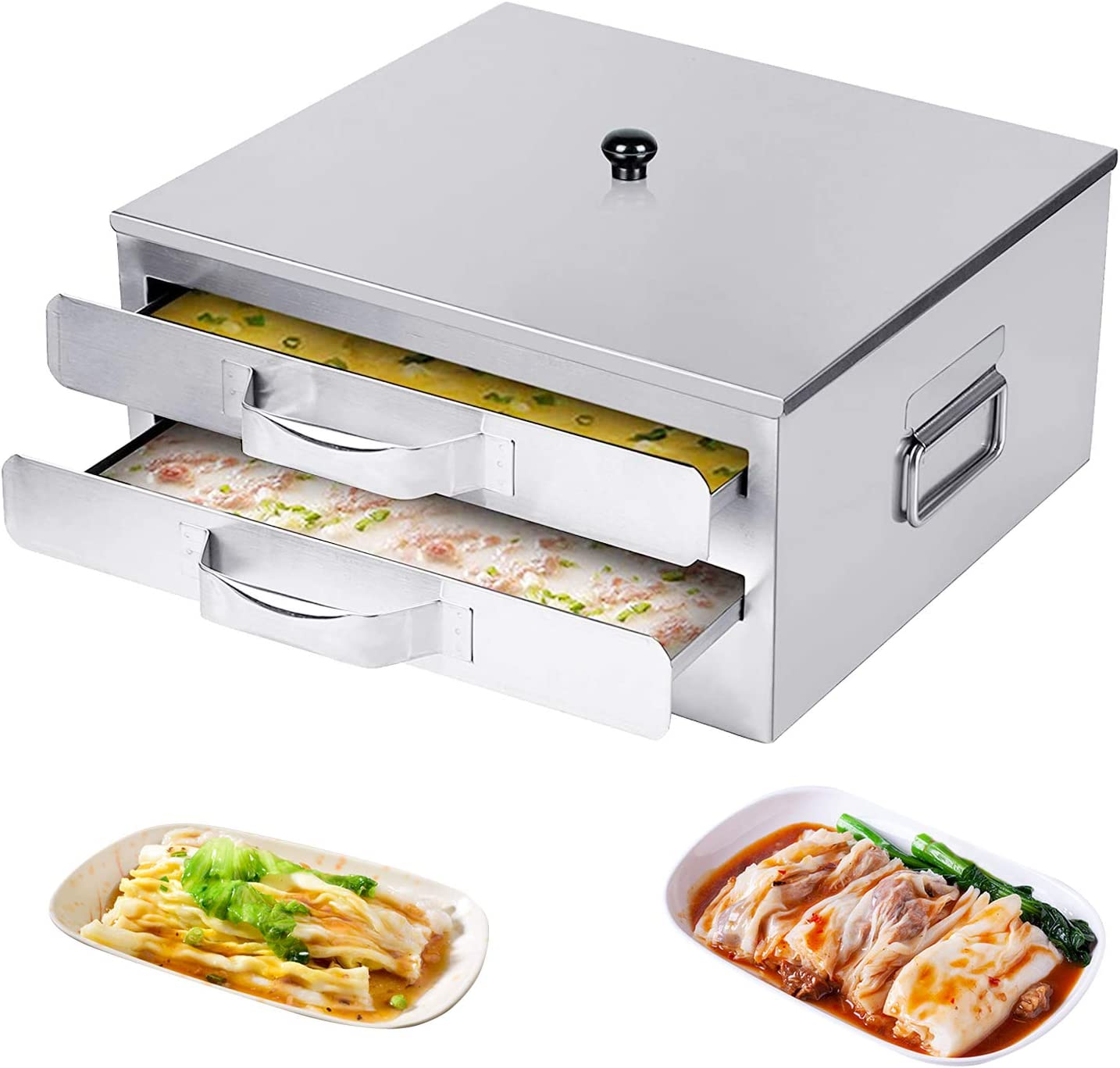 CABINAHOME Rice Noodle Roll Machine, Chinese Rice Noodle Roll Food Steamer with Openable Top Lid and 3 Stainless Steel Trays, for Home, Restaurant, Rice Roll Lovers