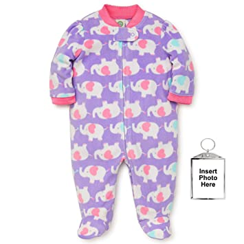 Little Me Warm Fleece Baby Pajamas with Feet Blanket Sleeper Footie Elephant Heart Purple 6 Months
