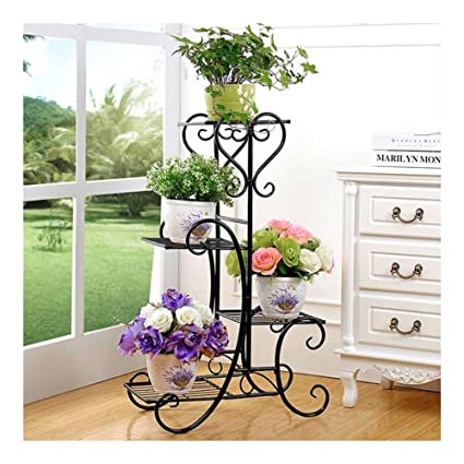 Amazon.com: New Black Garden Decor Flower Rack Wrought Iron Metal ...