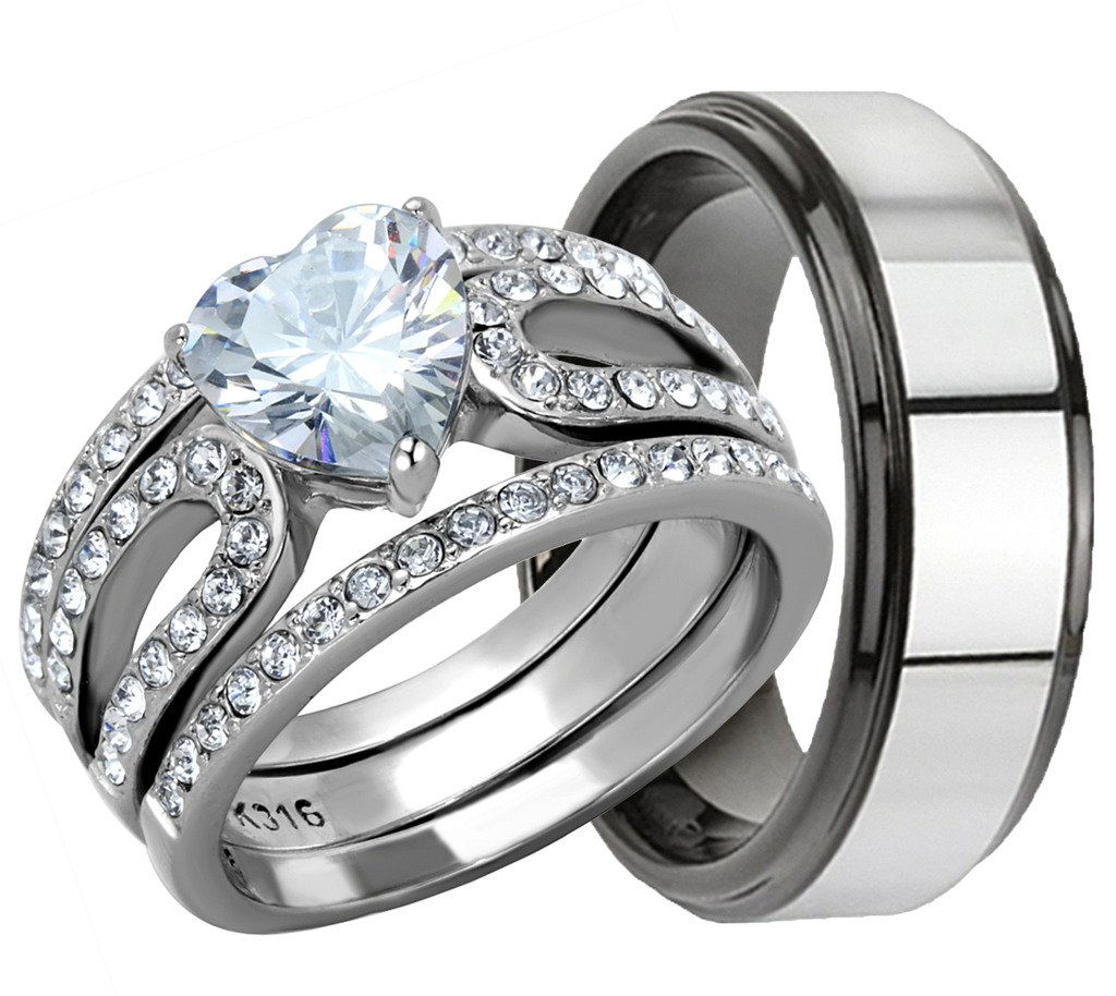 4 Piece His & Hers, Women's Stainless Steel Heart Cut Cubic Zirconia 1.7 Ct Engagement Wedding Ring Set & MenÕs Two Tone TUNGSTEN Band. Available Sizes: Men's 5,6,7,8,9,10,11,12,13 Women's Set Sizes: 5,6,7,8,9,10