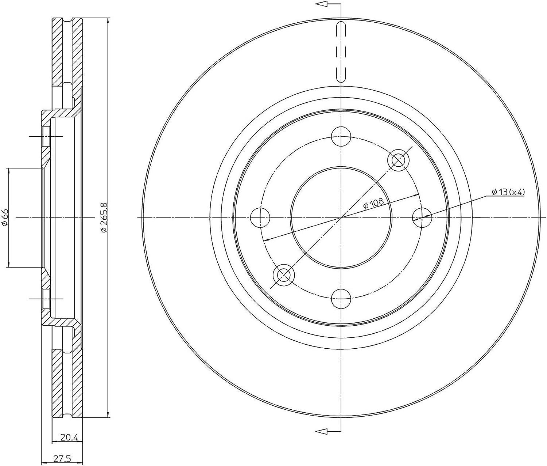 Kit Compos/é de 2 Disques de Frein Certificat ECE R90 Pi/èces de Rechange Pour Voitures metelligroup 23-0191 Disque de Frein