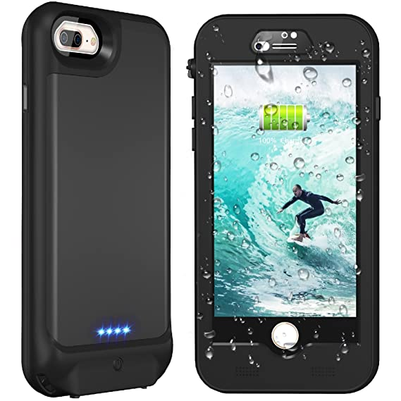 cheap for discount d20c1 d57c6 iPhone 7 Plus/8 plus/6s Plus/6 Plus Waterproof Battery Case, Singdo QI  Wireless Charging Compatible, 4800mAh Charging Case with Screen Protector  ...