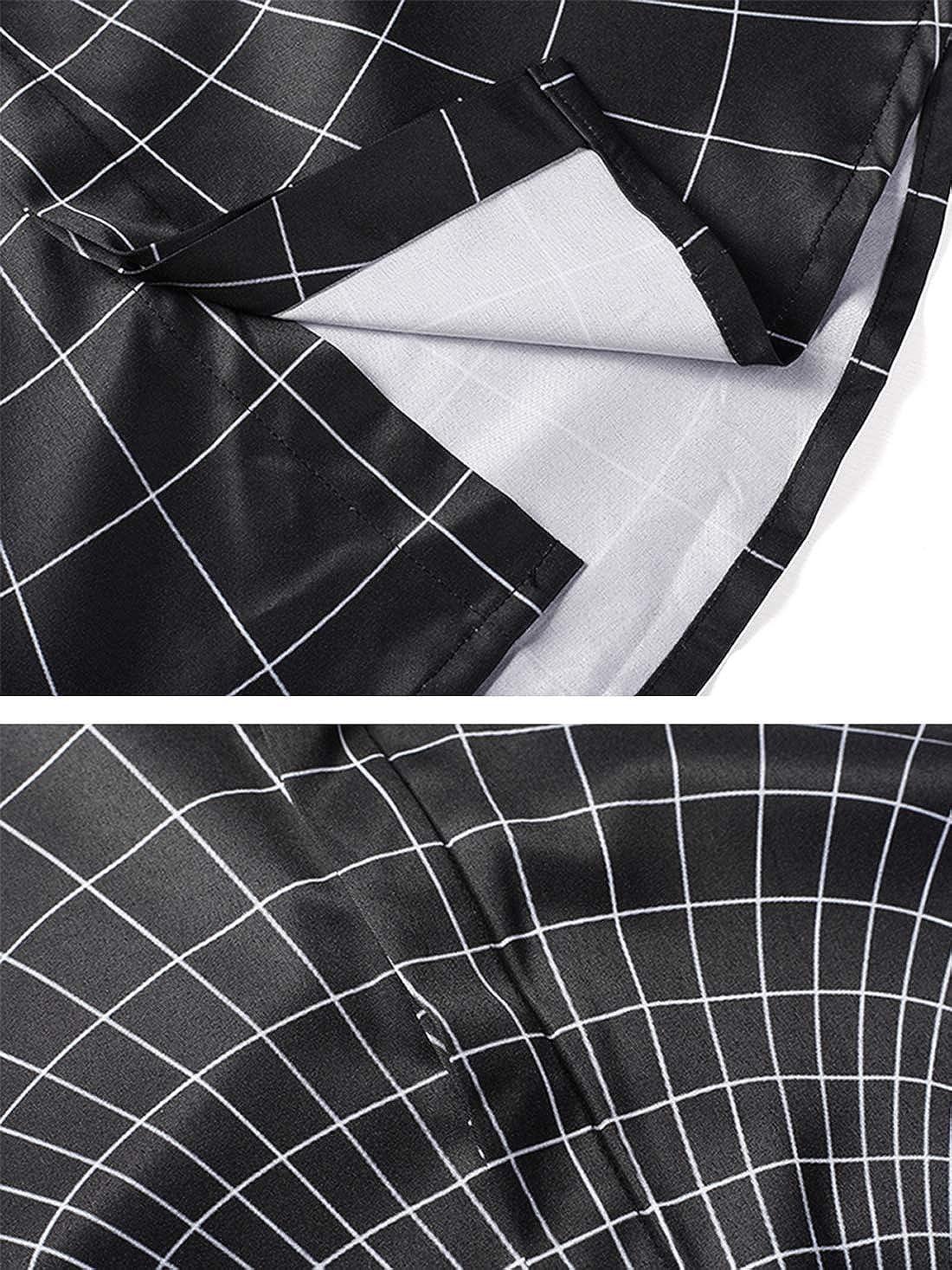 URVIP Mens 3D Printed Shirt Long Sleeve Slim Fit Button Down Herringbone Shirt