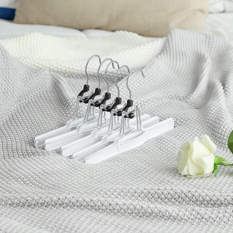Color Blanco SONGMICS CRI07WT-10-10 Perchas para Pantalones Metal, para Faldas, Perchas, Perchas, Perchas, Faldas, Ganchos giratorios 360/°