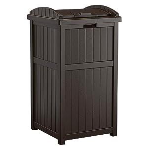 Suncast Trash Hideaway Outdoor Patio 33 Gallon Garbage Waste Trash Can Bin, Java (2 Pack)