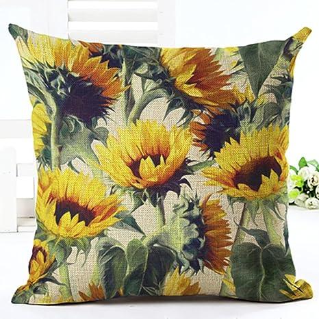 Funda de cojín de ZHOUBA, de tela, diseño de plantas y hojas verdes tropicales, para decoración del hogar, Lino, 24 Sunflower, talla única