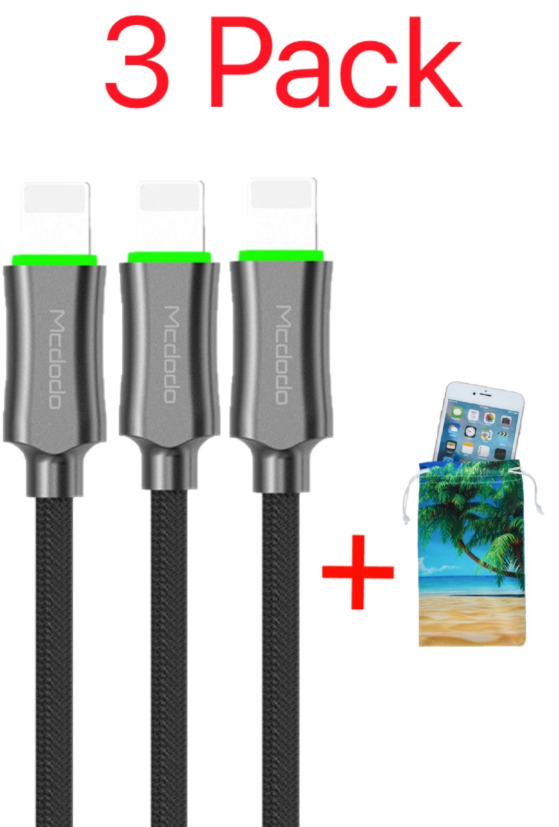 (3 Pack + iPhone Bag) Power Off Smart LED Auto Disconnect Lightning Nylon Braided Sync Charge USB Data 6FT/1.8M Cable For iPhone, iPod and iPad By Mcdodo (6FT Black) by MCDODO