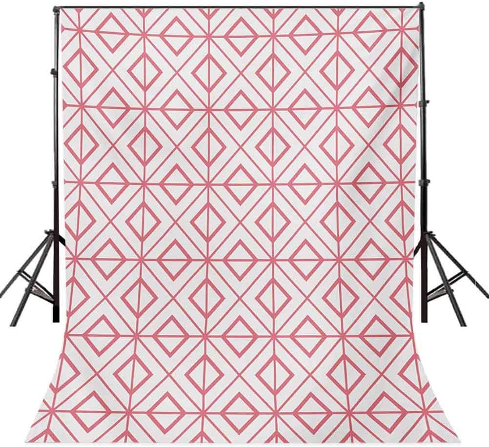 Pink 10x12 FT Photo Backdrops,Vintage Retro Tile with Geometrical Shapes Triangles Squares Lines Artwork Print Background for Baby Shower Bridal Wedding Studio Photography Pictures Pink and White