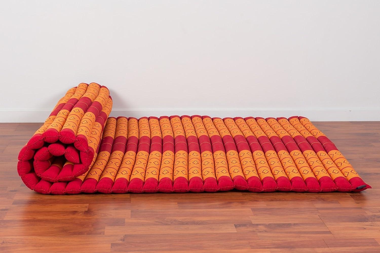 200x105x5 cm Kapok Leewadee Grand Tapis Tha/ï Enroulable XL Matelas Dinvit/é Tapis De Yoga Matelas De Massage Produit Naturel Et /Écologique Orange Rouge
