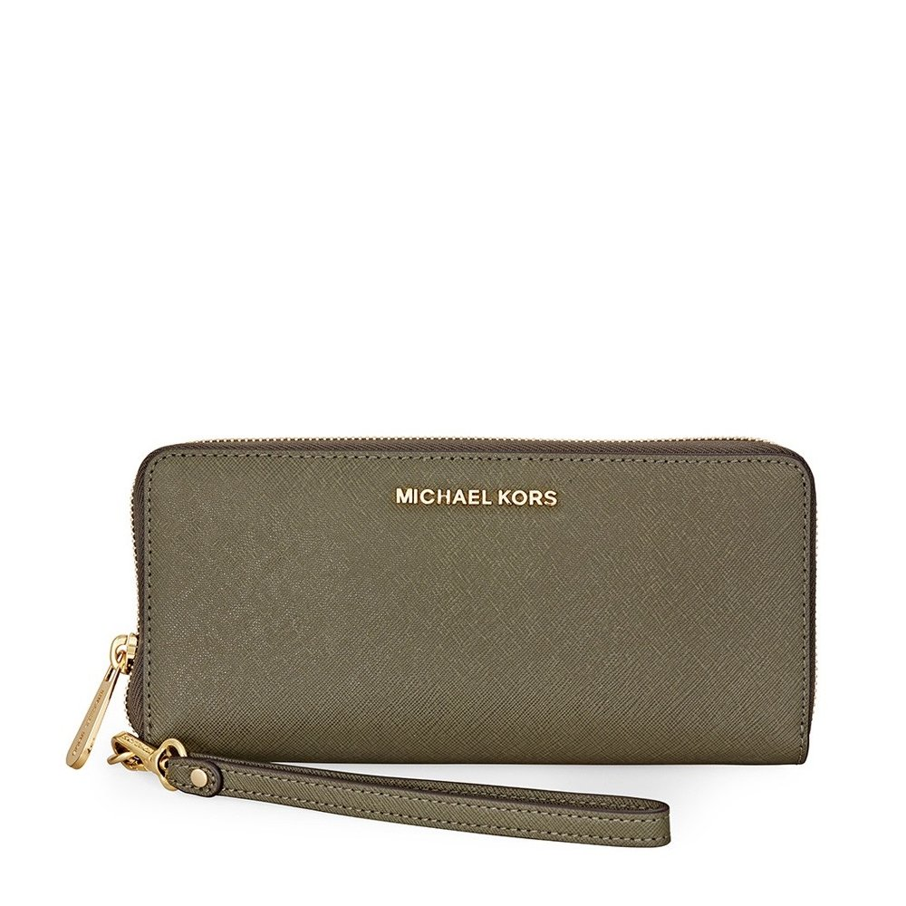 Michael Kors Jet Set Travel Leather Continental Wallet- Olive