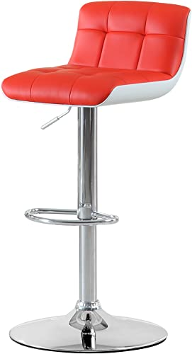 Furniture of America Korinthe Adjustable Leatherette Swivel Bar Stool, Red