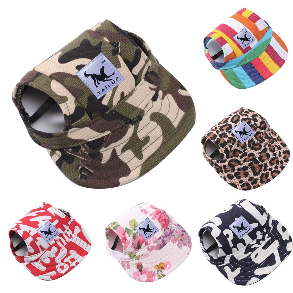 wanshenGyi Pet Cap, Classic, Practical, Fashion Stripe Camo Flower Summer Outdoor Pet Dog Baseball Peaked Cap Puppy Hat - Flower # M, Home, Travel.