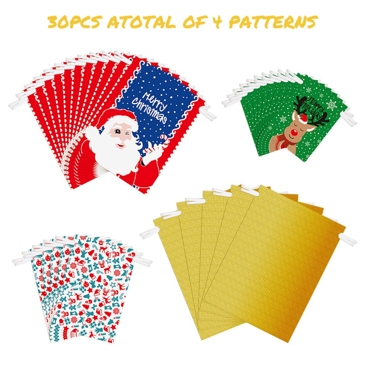 Amosfun Christmas Drawstring Gift Bags 30pcs Assorted Christmas Gift Wrapping Bags Upgraded Christmas Goodie Bags for Birthday Christmas Party