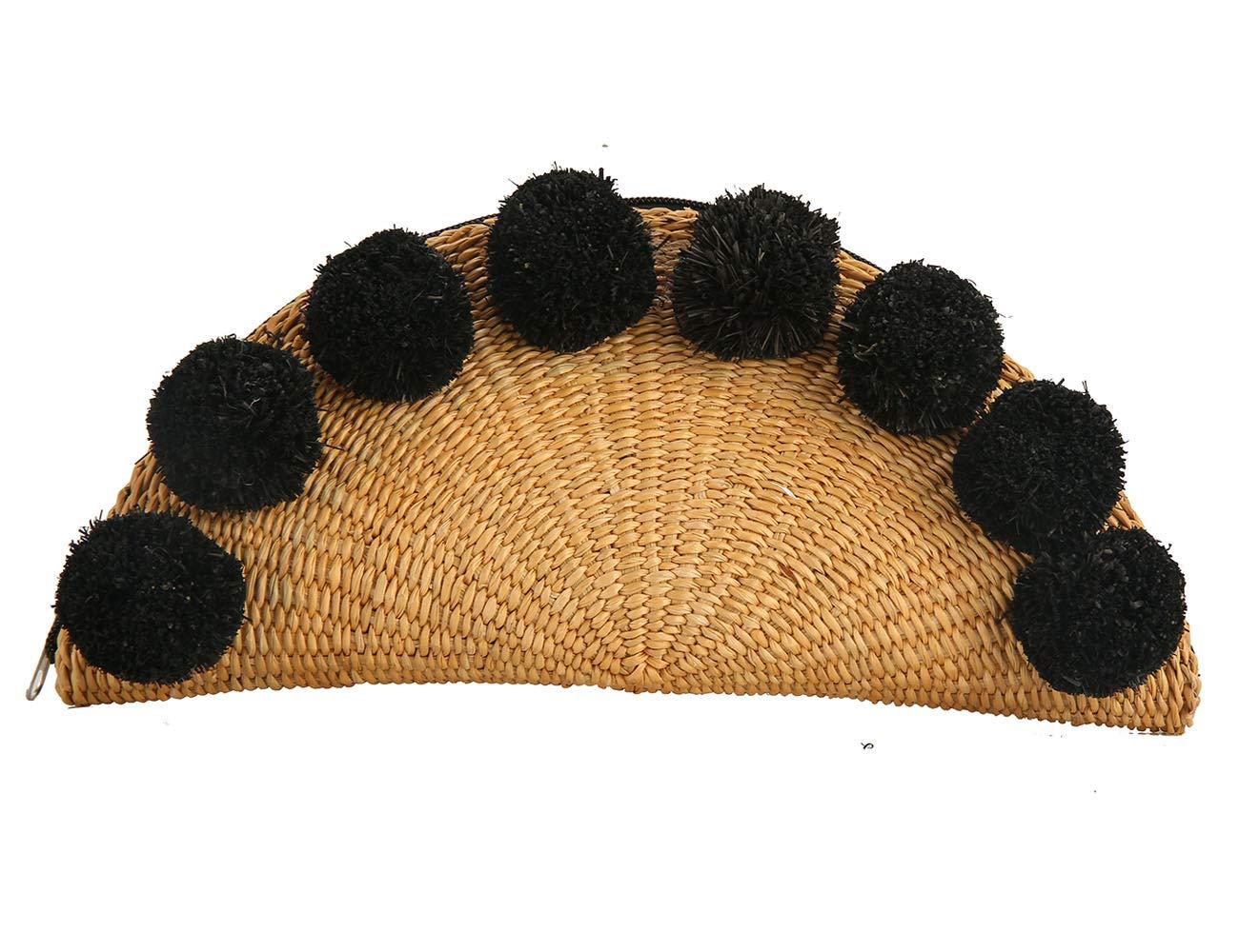 Straw Bag Woven Clutch Purse Chic Summer Beach Handbags (fan)