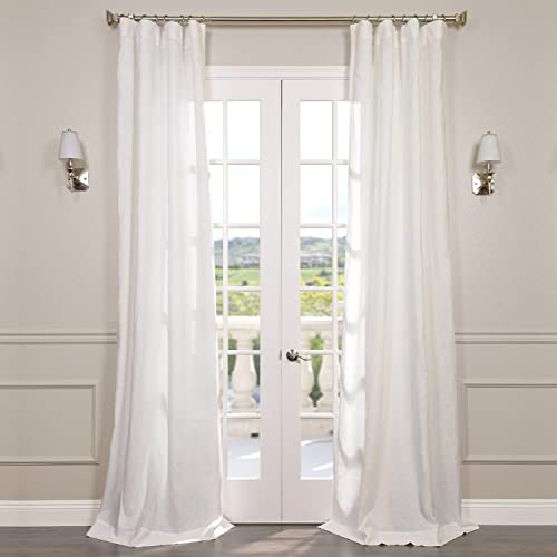 HPD Half Price Drapes SHLNCH-GB1001032-96 Signature French Linen Sheer Curtain 1 Panel , 50 X 96, Antique Lace